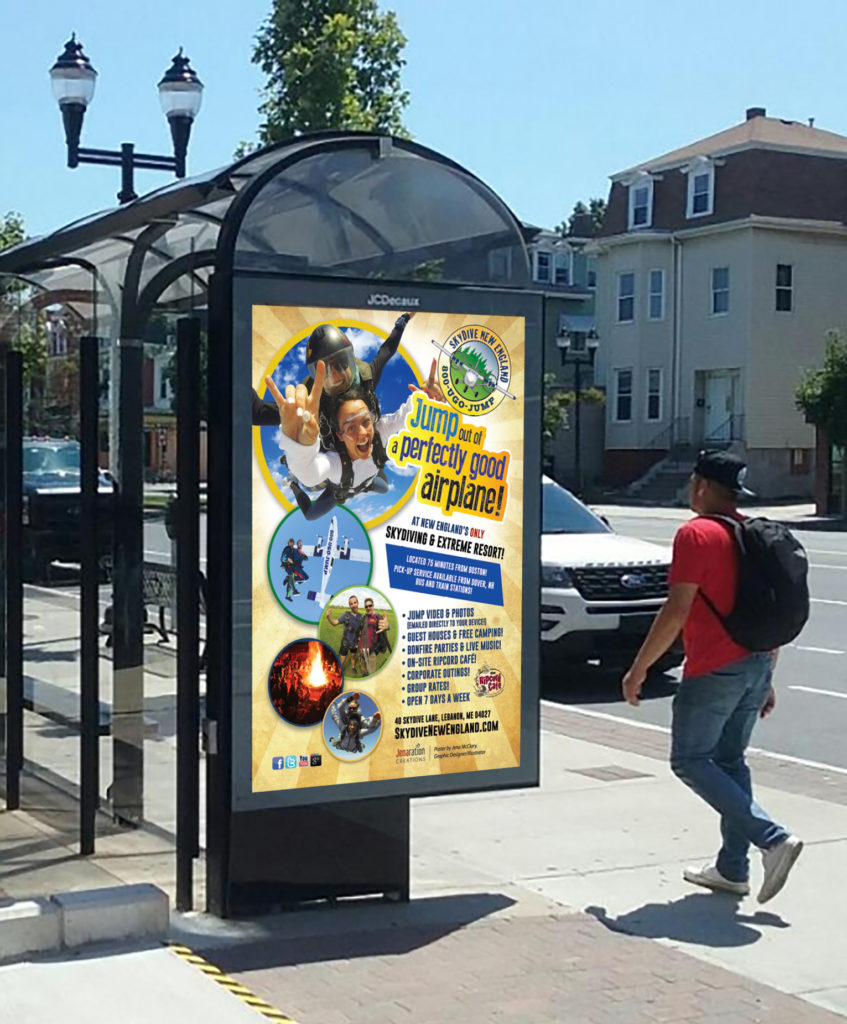Skydive New England Bus Stop Advertising
